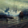 Oil painting showing a train coming in to a multi-track railyard, with ships masts and smokestacks in the distance.