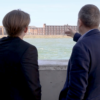 Dr. Beaven and Dr. Bell look over the waters of the Solent