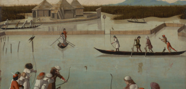 """Vittore Carpaccio, """"Hunting on the lagoon,"""" ca. 1490. [Getty Museum: public domain image] According to the Getty's caption, these Venetian archers """"use clay pellets rather than arrows in order to stun the birds and not damage their plumage."""""""